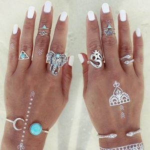 Jewelry - 5 for $25 Set of 8 Midi Rings Elephant Boho Punk